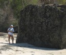 Chapman Bay, Union Island on the beach next to this incredible almost perfectly square pice of volcanic rock.  How did it get there?