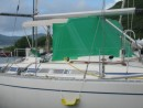 See our new step for getting into and out of the dinghy.  We were getting pretty tired of fighting the stern so we thought we