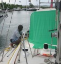 Just a little tighter over here, umm what about the winch handles, oops we have to be able to trim the sails ya know!!