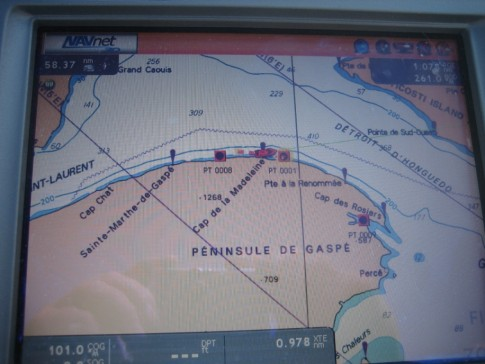 This is from our trusty chartplotter showing the turn to the south around the top of the Gaspe