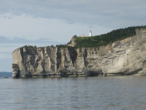 Cap Gaspe as we approached from the north.  You can see the lighthouse 1,000 feet above the water.