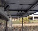 10 x Fishing Rod rack mounted bellow solar array.
