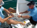 Our Sea Era 00080: Rich helping Cory splice anchor rode/chain