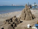 Our Sea Era 00252: Christmas sand sculptues on beach in Old Town PV