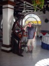 Rich and Don (Quixote that is) doing some thinking or fantasising at hotel restaurant in downtown Manzanillo.