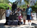 Our Sea Era 00244: Us with statue of John Huston, director of Night of the Iquana (old town Puerto Vallarta)
