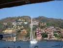 View of the hillside of Zihuatanejo from our boat.