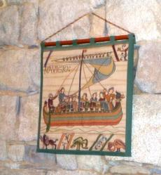 A reproduction of a panel from the tapestry de Baleux