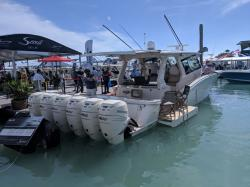 The winner of the most motors contest at the Miami Boat Show 2019