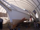 Here is a skipjack under restoration, having a new bottom placed