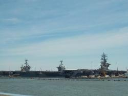 Three carriers in at one time, The Eisenhower, Stennis and Truman