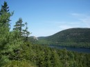 Looking over Jordan Pond at one of the Bubble Rocks