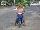 Riding a scooter on Aitutaki