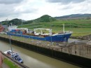 Miriflores lock,  the cargo ship is locking up