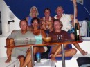We have mostly sailed in company with this gang of pirates since Guatemala. Top middle is Chery from Interlude,  Ann and husband Tony off Pavo Real, lower rt is Karen off of Interlude.  Cheryl and Karen will be crossing the Pacific with us.