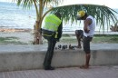How often do you see a policeman in the US playing chess along the street