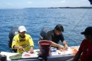 While the dive master and boat crew made us lunch of just caught yellow fin tuna ceviche