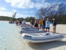 Dinghies lining up for the coconut roundup