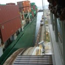 Panamax sized ship in lock