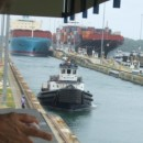 Two panamax sized ships and a tug in locks