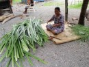 Preparing leaves for handicrafts