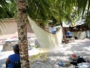 Kimij (prepared coconut fiber) drying in the breeze