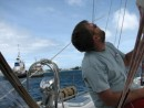 Jim checking the sail