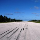 skid marks on the runway
