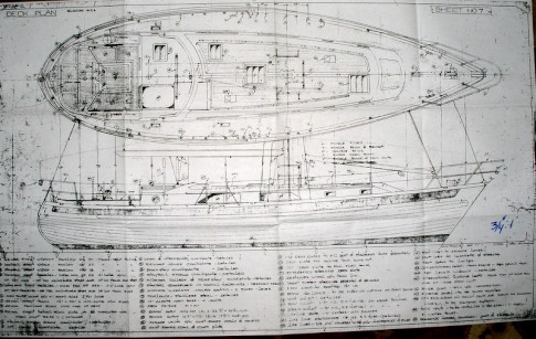 Architectural drawing, boat designed by Stan Huntingford.