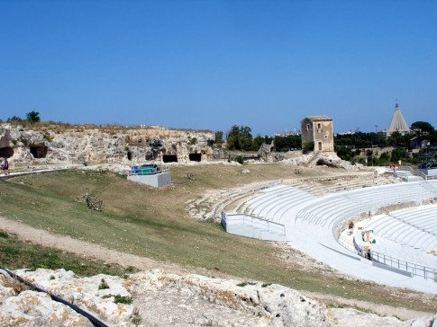 The Greek Theatre (Teatro Greco)-with bleachers installed for Greek theatre festival