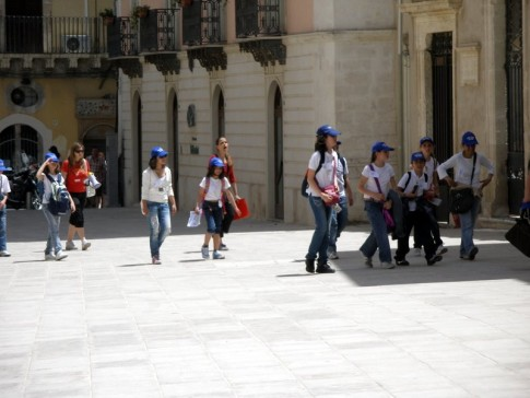 Lots of school groups were touring Siracusa in early June- matching ballcaps made them easy to spot!