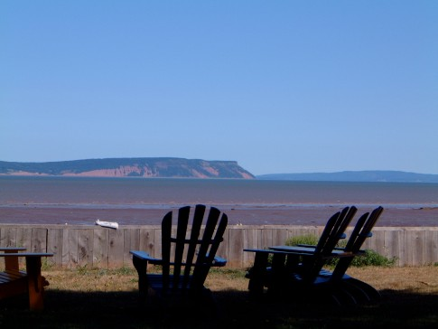 Memories............. the Beach. From the front door of my parents cottage at Evangeline Beach, Nova Scotia, looking towards Cape Blomidon. The highest tides of the year. 43 feet twice a day. It