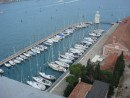 Looking down onto San Giorgio Marina; Sangaris is the 4th boat on the right inner dock, next to the empty berth
