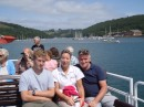 Tom came with us on a boat trip up the Dart - The glare was unbelievable - hence the faces