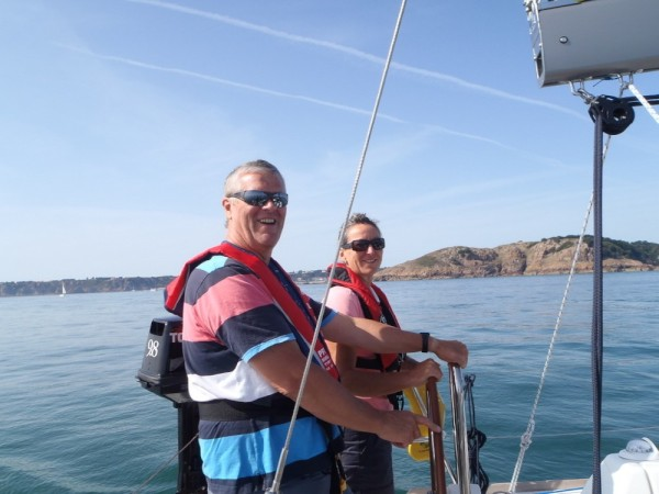 Roge and Shar....note no wind...motoring along