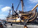 HMS Victory - Nelsons flagship in the Battle of Trafalgar. He died aboard, so they pickled him in a rum barrel to preserve him on the return trip to Portsmouth