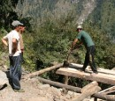 New lodge being made from hand sawn pine trees in the Manang valley