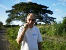 Sampling sugar cane. It is sweet... and woody. Don