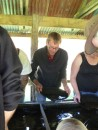 Phil panning for gold at one of the stops on the West Coast Wilderness Railway trip from Queenstown to Strahan