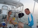 Bahamas 2006 - 025: Decided to do a night sail as far as we can from Mangrove: anchors away.