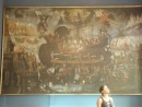 Huge mural and girl looking the other way: Huge mural and girl looking the other way