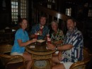 """Barefeet"" & ""Sora"" toasting in Raffles with a Singapore Sling (red Kool Ade) to safe and happy sailing."