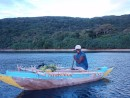 bringing some veggies back home in a stylish outrigger.