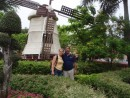Jeni and Terry enjoying the effects of the Dutch windmill in City square.