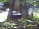 We were trying to disappear into the shade of this huge ancient tree.