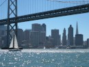 San Francisco from south of the Bay Bridge on a rare warm sunny day.