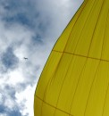 Our yellow spinnaker. One of our big sails.