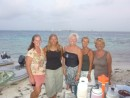 The girls at beach for drinks in Tobago Keys (Hanco, Challenger, Wild Cat, Maggie May and North Star)