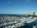The view of Honolulu from our condo and view of the marina.