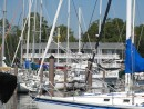 Boats and condos at Northwest Creek Marina.